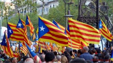 diada nacional catalunya. barcelona 11.09.2012 . manifestacion por la independencia . esteladas