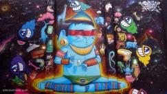 obra de cranio y pez.street art.graffiti en poblenou.barcelona.