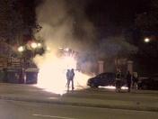 Incendios provocados de contenedores de basura en Travesera de Dalt. Barcelona. 22.05.2008