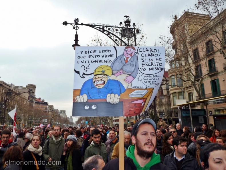 manifestacion en barcelona contra la reforma laboral de rajoy