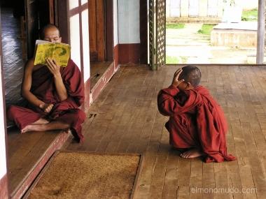 monjes budistas maestro alumno. myanmar. birmania