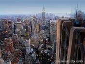 manhattan y el empire state vistos dese el top of the rock en el rockefeller center. new york