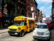school bus in chinatown. new york