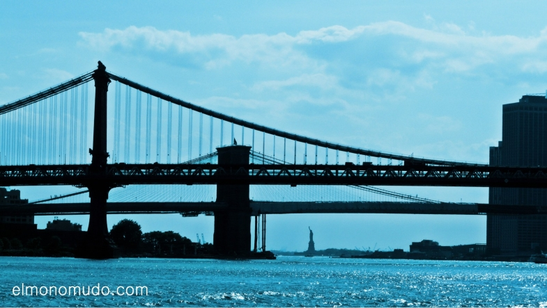 new york,manhattan,bridges,statue of liberty