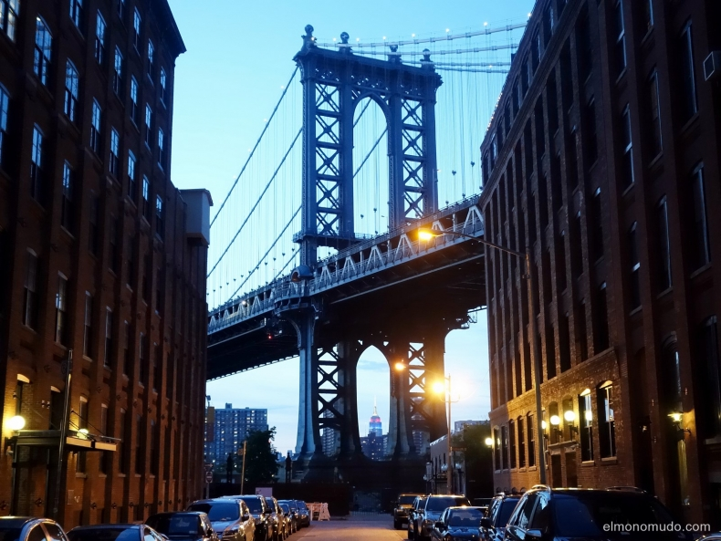 view of the manhattan bridge pillar from washington street, dumbo, brooklyn