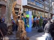 estatuas humanas.mujer alada.ramblas de Barcelona