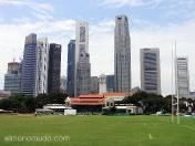 Padang, símbolo del imperialismo británico, en su pulcro cesped juega el Singapore Cricket Club (fundado en 1852), tambien acoge partidos de rugby, bolos y futbol.