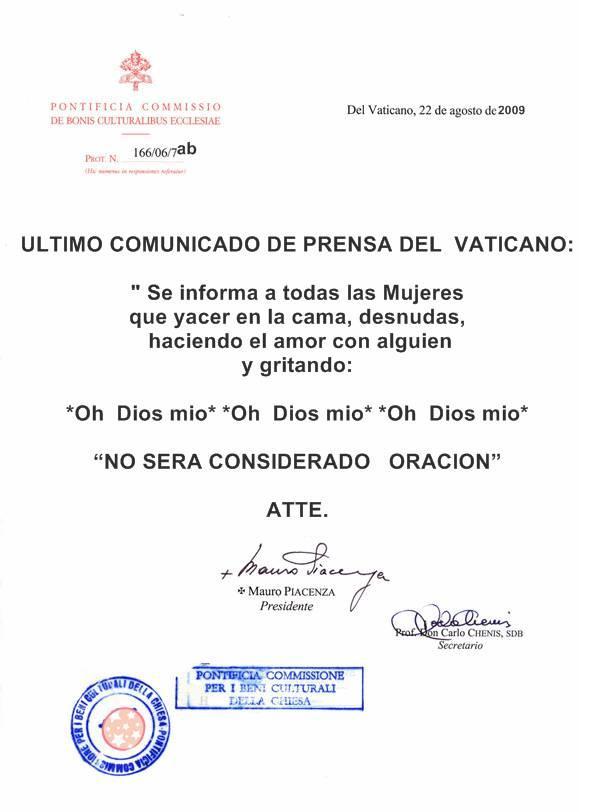 comunicado de prenssa del vaticano