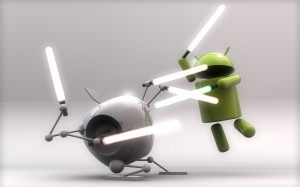 android vs apple con sables laser