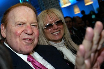 American billionaire businessman Sheldon Gary Adelson (L), attends the Israeli Presidential Conference at the International Conference Centre in Jerusalem