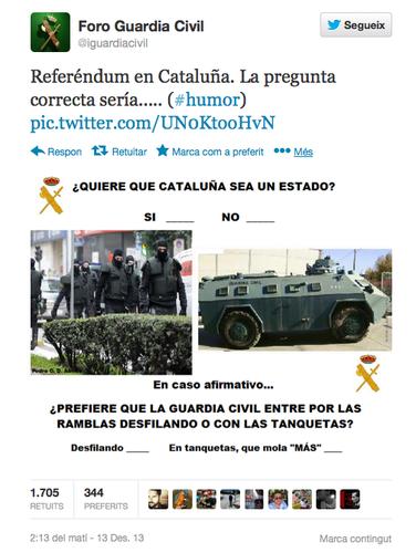 tuit guardia civil desfilando o con tanquetas