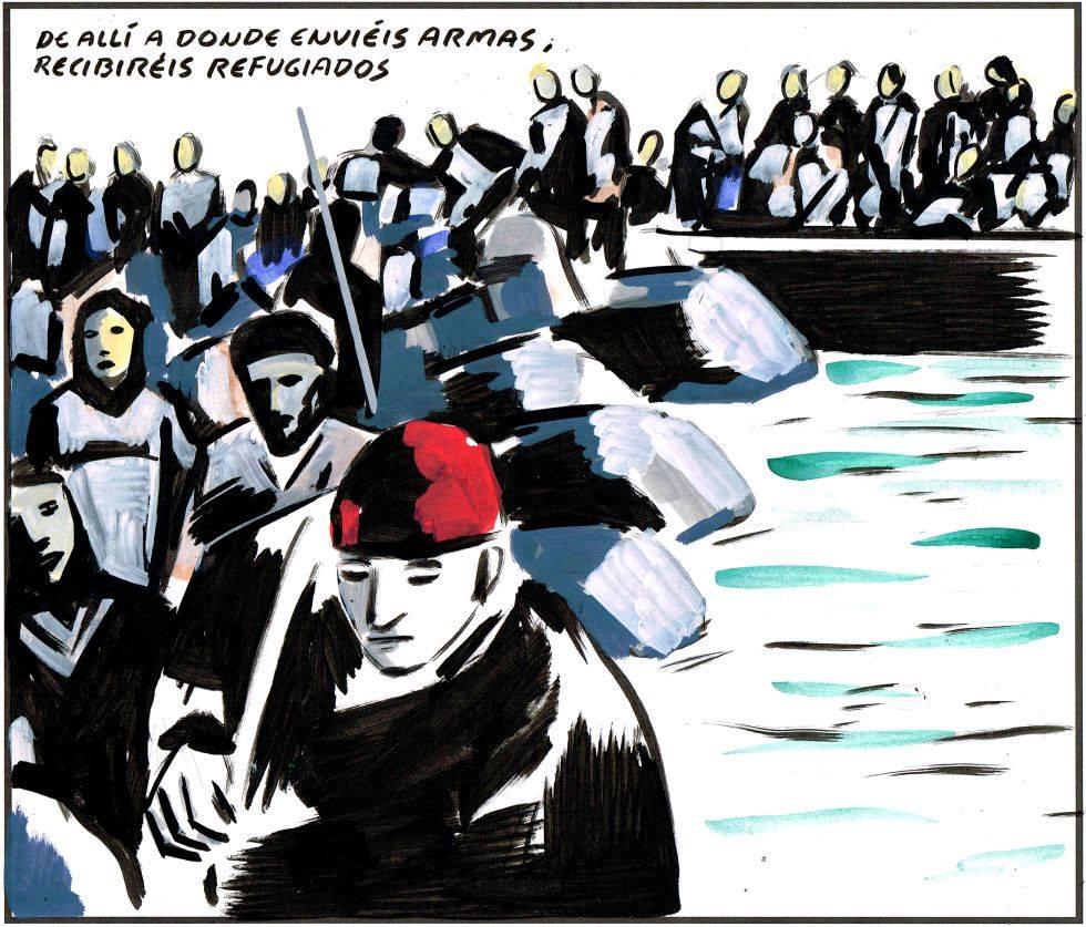 El tráfico de armas provoca refugiados.